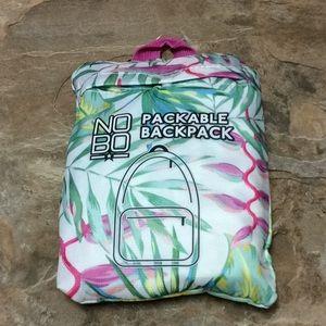NoBo tropical pattern packable backpack NWT!